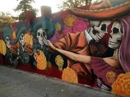 Mural pintado en época de Día de Muertos